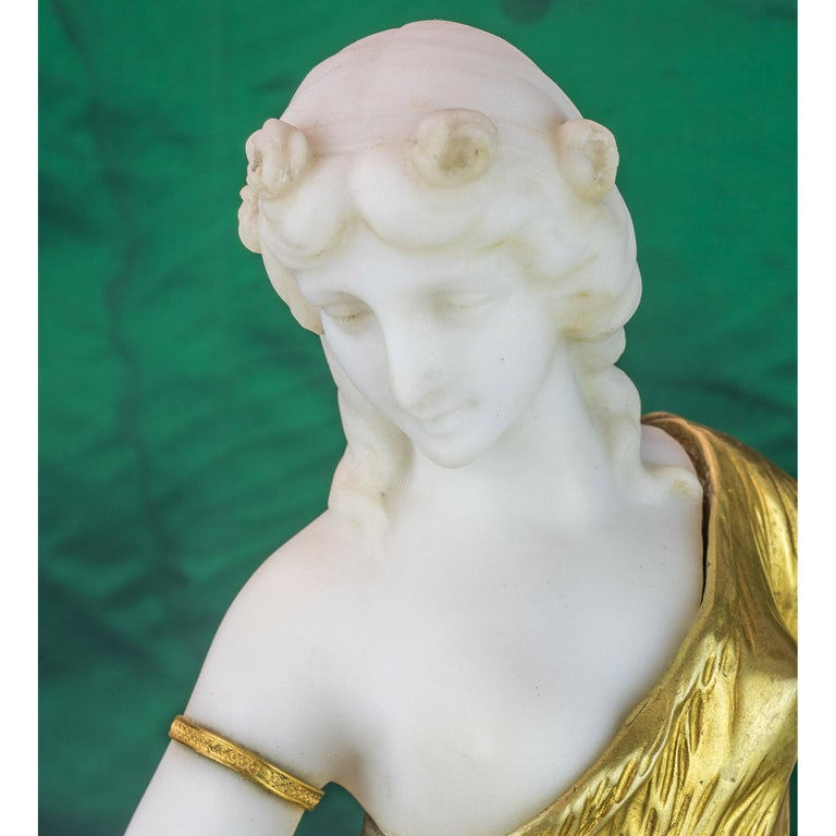 20th Century Bronze and Marble Sculpture Statue of a Woman by H. Fugère For Sale