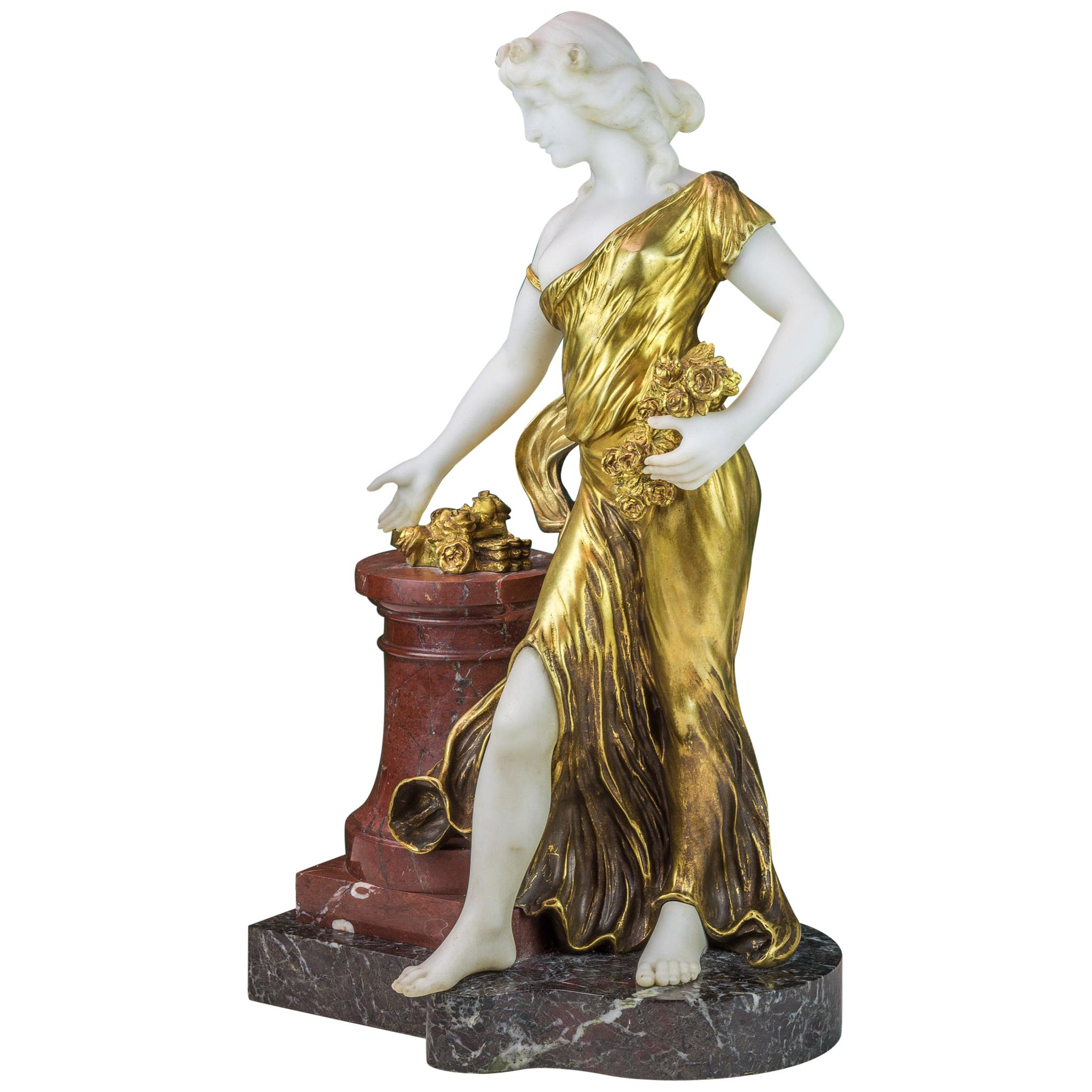 Bronze and Marble Figure of a Woman with Flowers by H. Fugère
