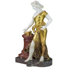 20th Century Bronze and Marble Figure of a Woman with Flowers by H. Fugère