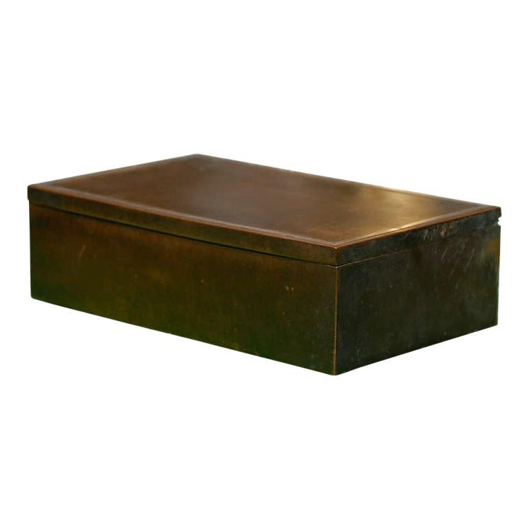 20th Century Bronze and Sterling Humidor with Wood Interior, circa 1912