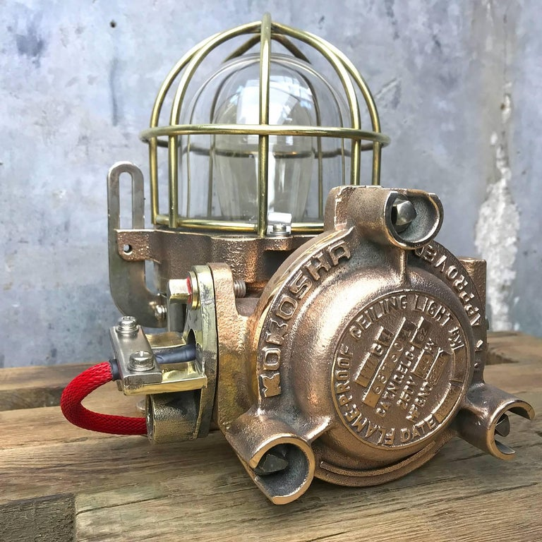 20th Century Bronze / Brass Industrial Flame Proof Ceiling Light / Desk Lamp For Sale 4