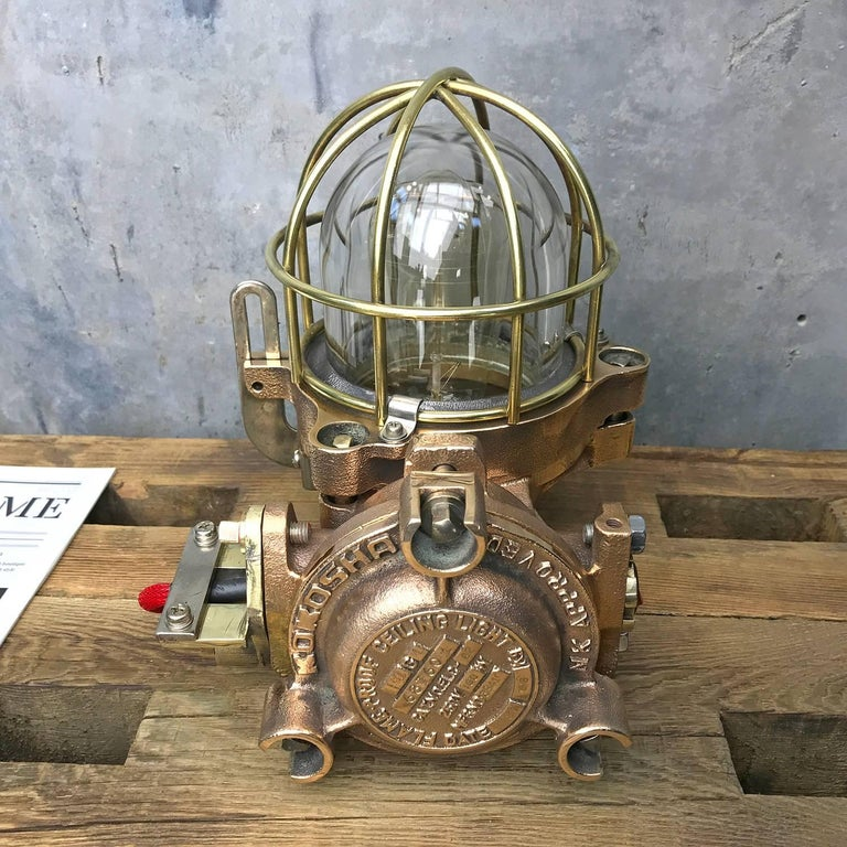 20th Century Bronze / Brass Industrial Flame Proof Ceiling Light / Desk Lamp For Sale 5