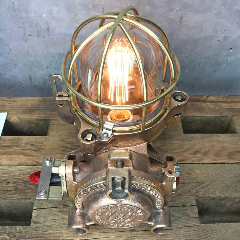 20th Century Bronze / Brass Industrial Flame Proof Ceiling Light / Desk Lamp For Sale 6