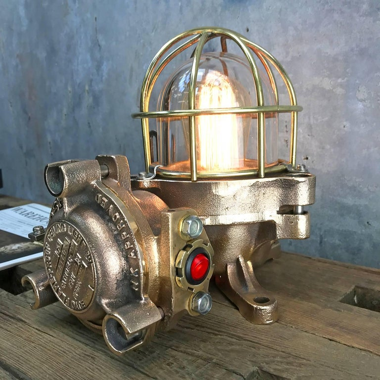20th Century Bronze / Brass Industrial Flame Proof Ceiling Light / Desk Lamp For Sale 8