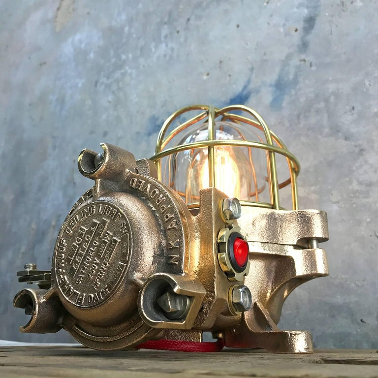 20th Century Bronze / Brass Industrial Flame Proof Ceiling Light / Desk Lamp For Sale 9