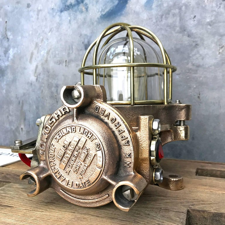 Japanese 20th Century Bronze / Brass Industrial Flame Proof Ceiling Light / Desk Lamp For Sale