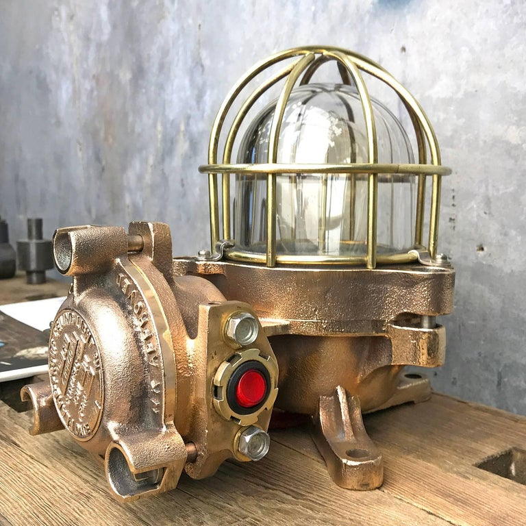 Machine-Made 20th Century Bronze / Brass Industrial Flame Proof Ceiling Light / Desk Lamp For Sale