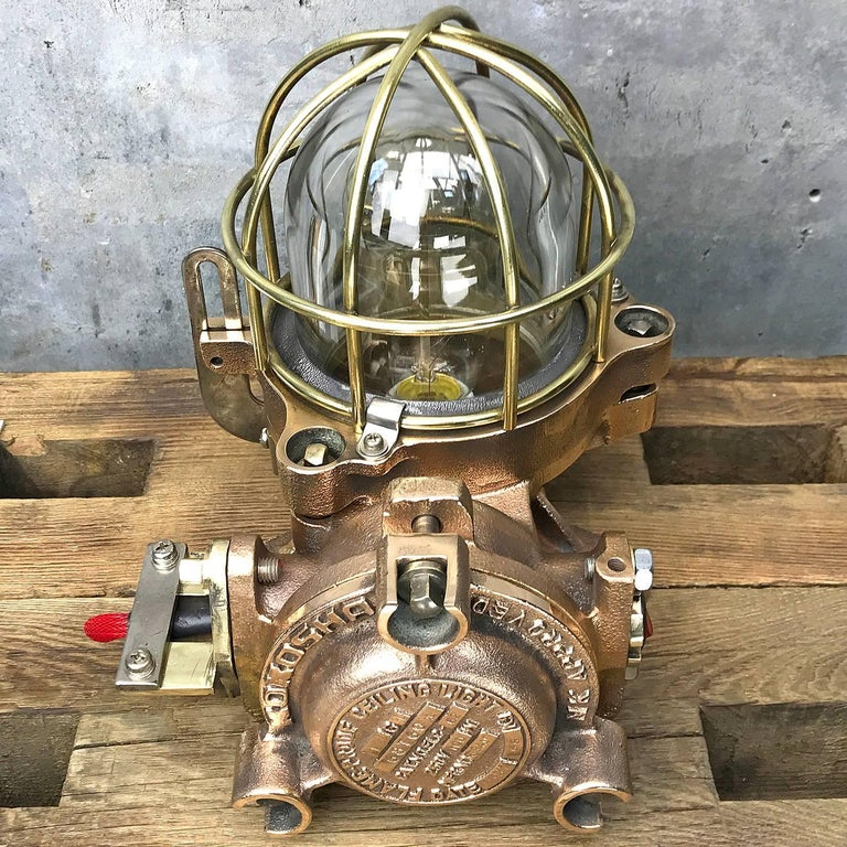 20th Century Bronze / Brass Industrial Flame Proof Ceiling Light / Desk Lamp In Excellent Condition For Sale In Leicester, Leicestershire