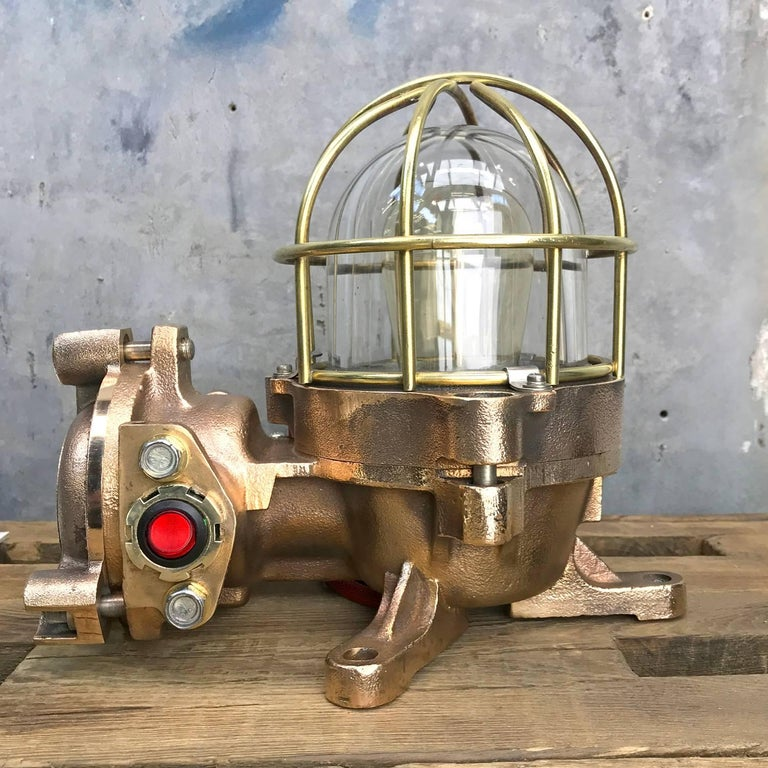 19th Century 20th Century Bronze / Brass Industrial Flame Proof Ceiling Light / Desk Lamp For Sale
