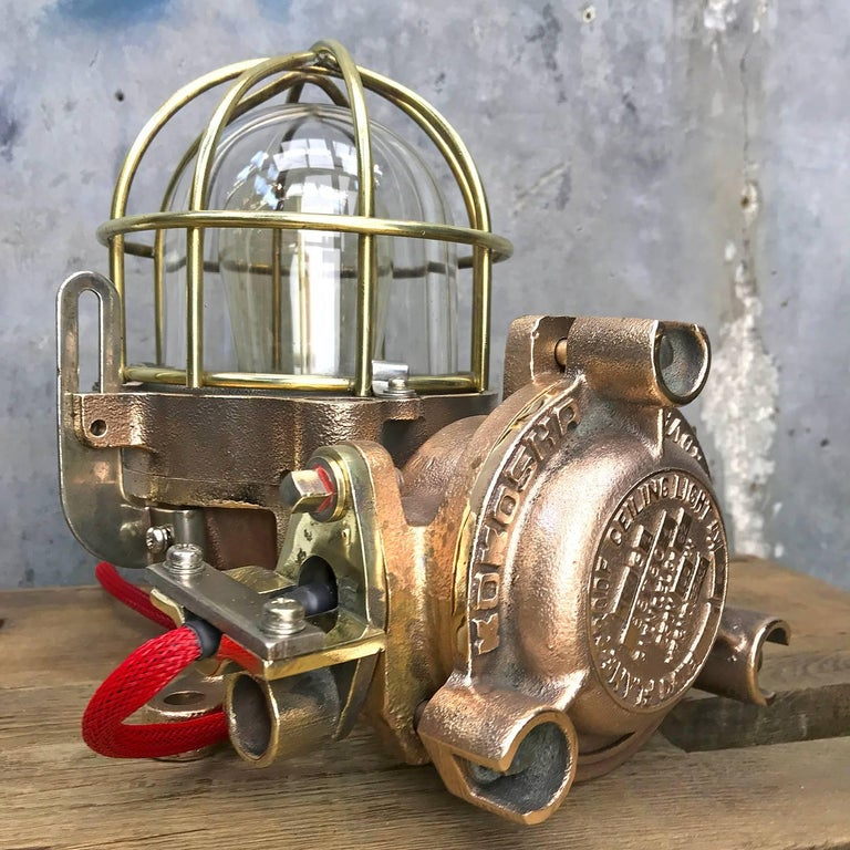 20th Century Bronze / Brass Industrial Flame Proof Ceiling Light / Desk Lamp For Sale 2