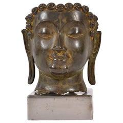 20th Century Bronze Buddha Head