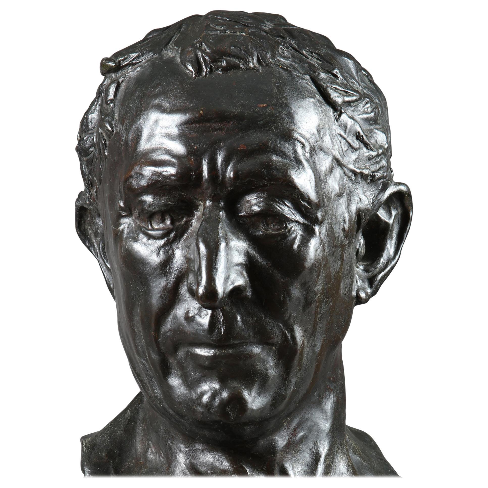 20th Century Bronze Bust of Julius Caesar by Alfredo Pina