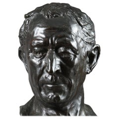 20th Century Bronze Bust of Julius Caesar by Alfredo Pina