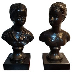 20th Century Bronze Busts of a Boy and a Girl on Black Marble Base