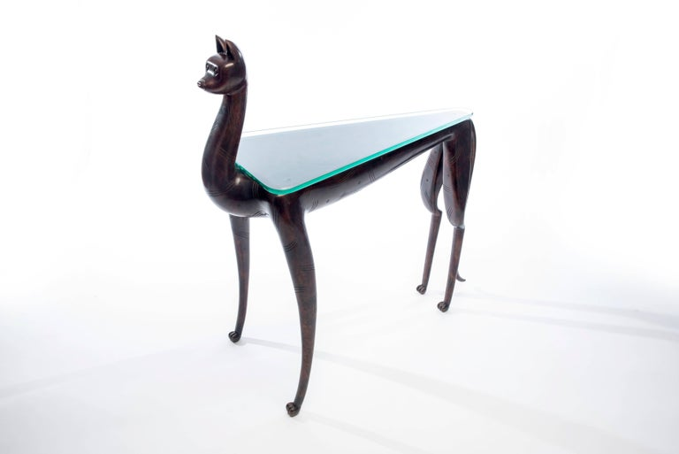 Glass 20th Century Bronze Lynx Table by Judy McKie For Sale