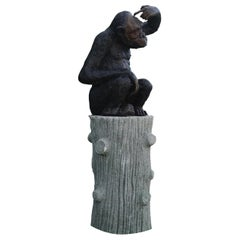 20th Century Bronze Monkey Garden Statue on a Faux Bois Base, French Decor