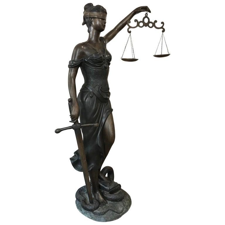20th Century Bronze of the Goddess Iusticia For Sale
