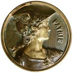 20th Century Bronze Patine Plaque Portrait Patrie