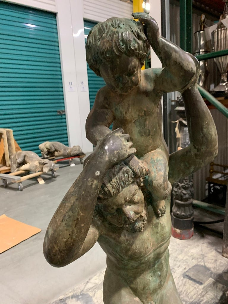20th Century Bronze Sculpture of Man with Boy on Shoulders For Sale 7