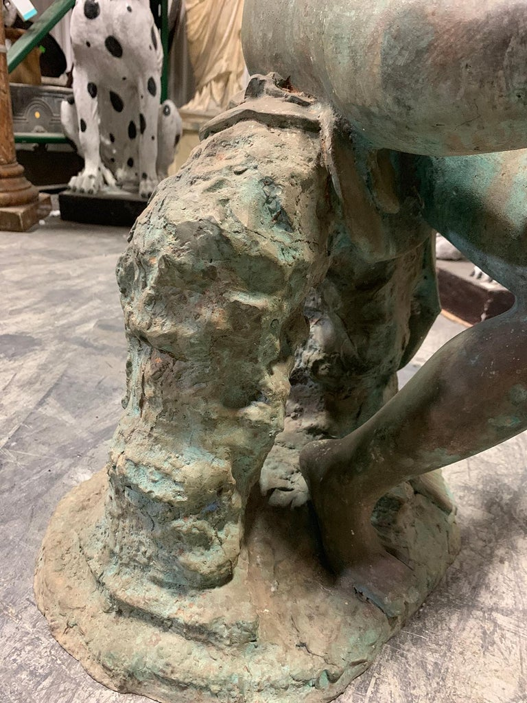 20th Century Bronze Sculpture of Man with Boy on Shoulders For Sale 10