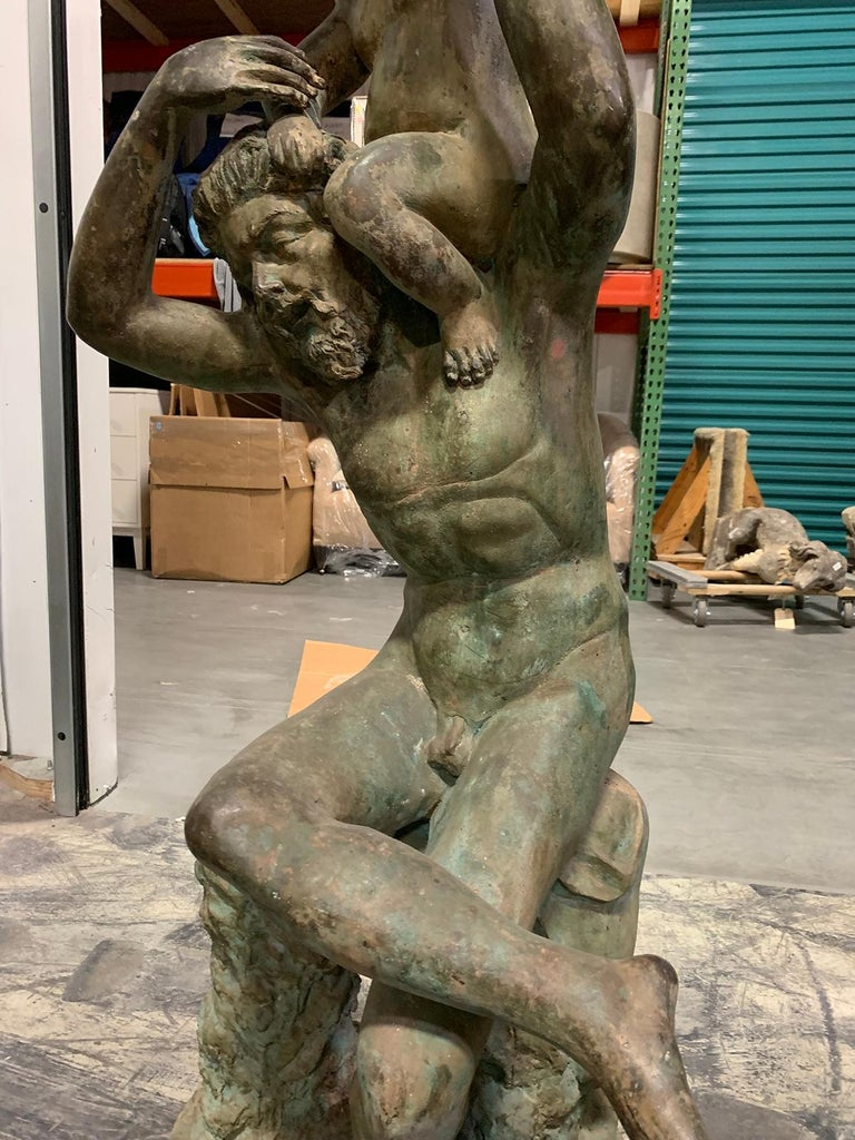 20th Century Bronze Sculpture of Man with Boy on Shoulders For Sale 4