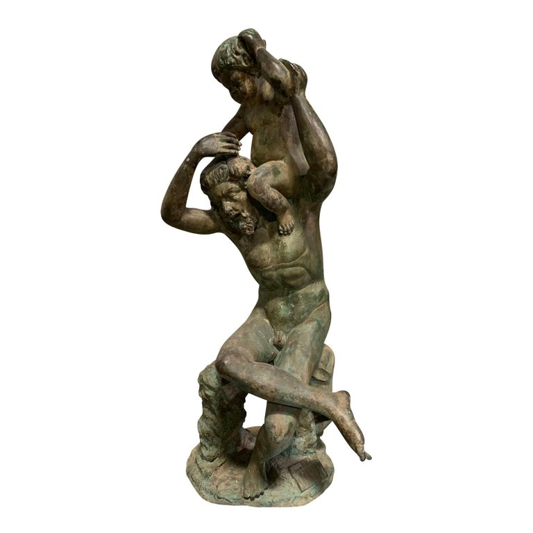 20th Century Bronze Sculpture of Man with Boy on Shoulders For Sale
