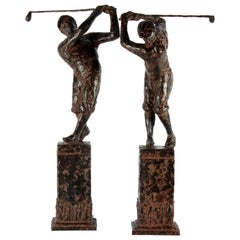 20th Century Bronze Sculptures, Depicting Playing Golfers 'Charles Dumernit'