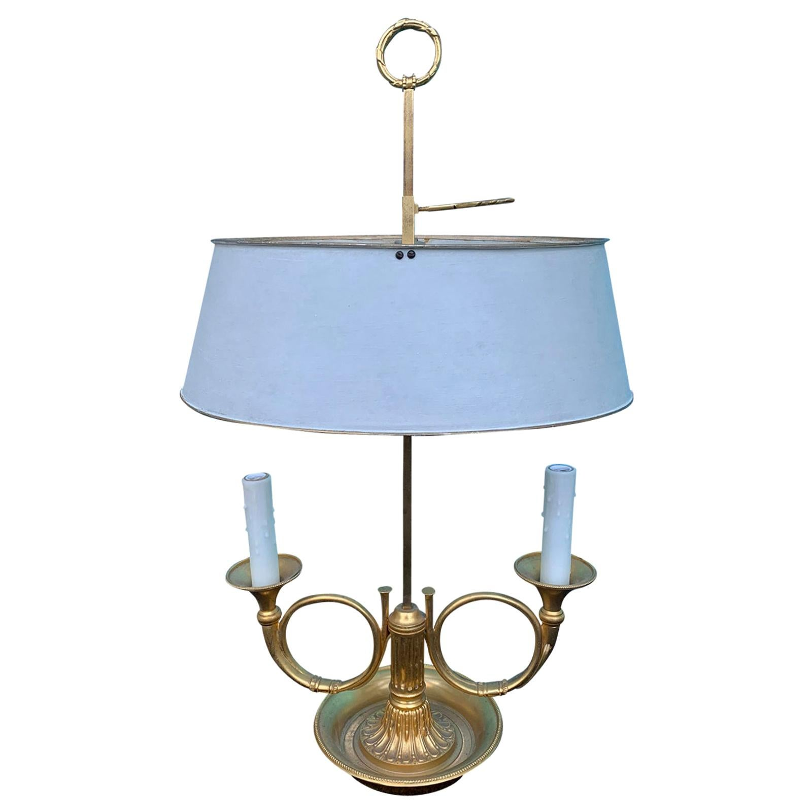 20th Century Bronze Two-Arm Bouillotte Lamp, French Horns, Painted Tole Shade