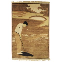 20th Century Brown and Beige Golf Player Turkish Hand Knotted Wool Rug, 1970s