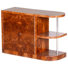 20th Century Brown Art Deco Walnut Cabinet, Chrome, 1930s, Completely Restored