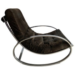 20th Century Brown Chrome-Plated Rocking Chair by Renato Zevi for Selig, 1970