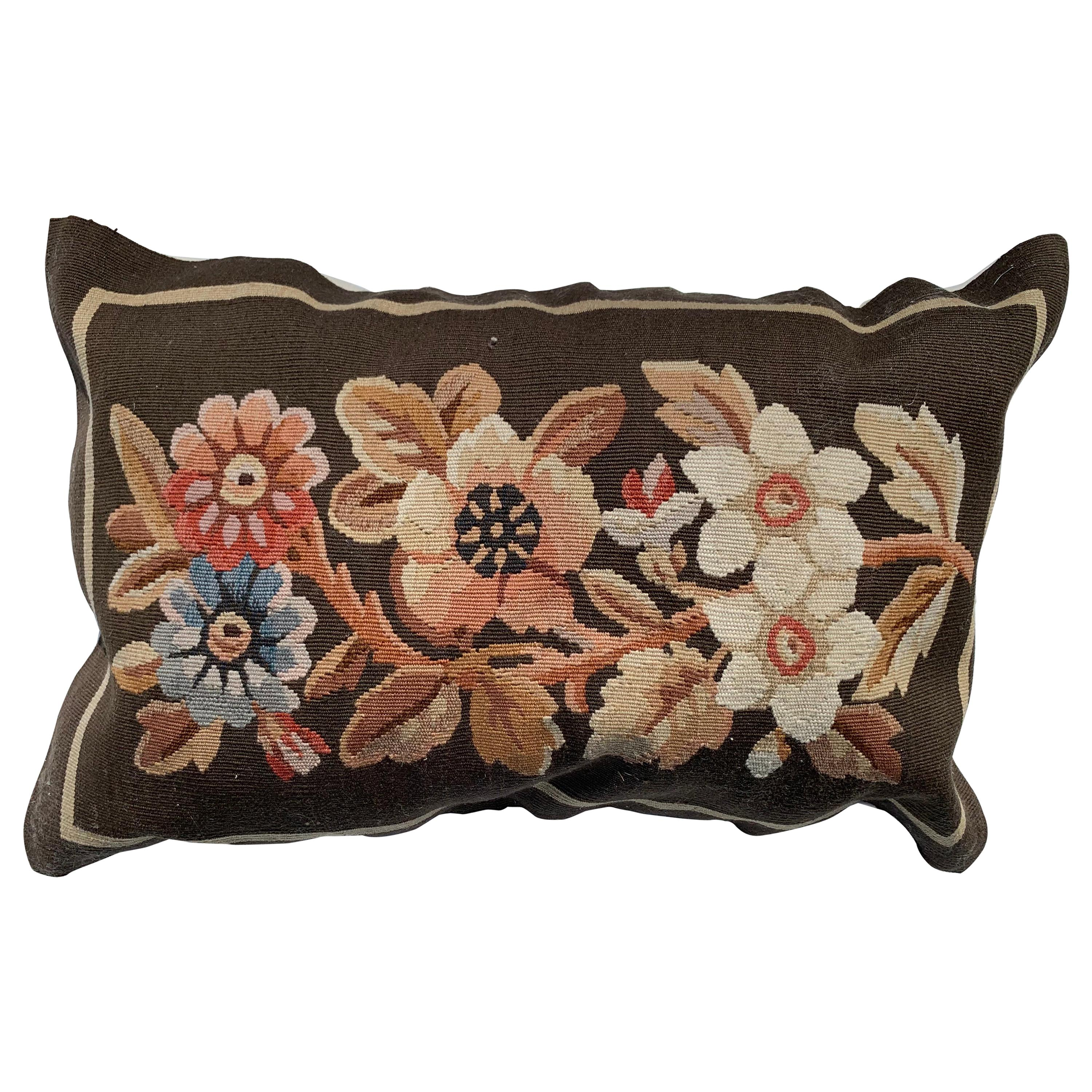 20th C. Floral French Aubusson Tapestry Style Needlepoint Lumbar Pillow Case
