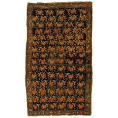 20th Century Brown Green and Red Flower Rose Caucasian Karabagh Rug, 1950s