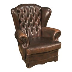 20th Century Brown Leather English Chester Armchair, 1970