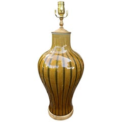 20th Century Brown Striped Pottery Lamp