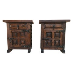 20th Century Brutalist Pair of Spanish Nightstands with Carved Drawer and Door