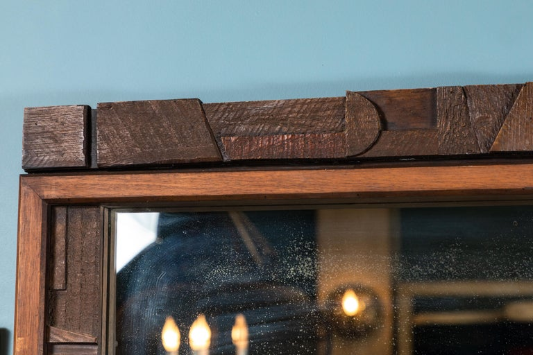 20th Century Brutalist Two-Panel Mirror in Oak Frame from Lane For Sale 3