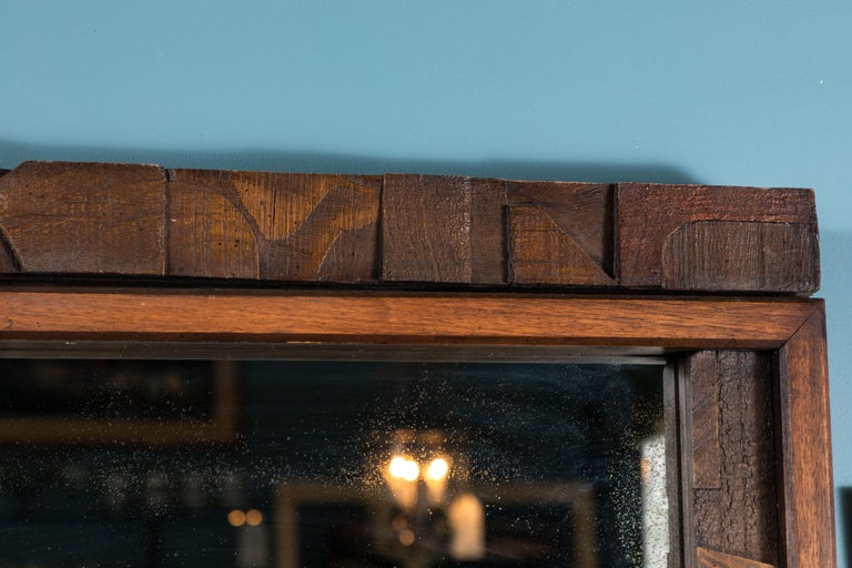 Carved 20th Century Brutalist Two-Panel Mirror in Oak Frame from Lane For Sale