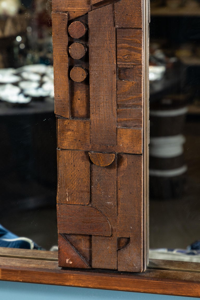 Late 20th Century 20th Century Brutalist Two-Panel Mirror in Oak Frame from Lane For Sale