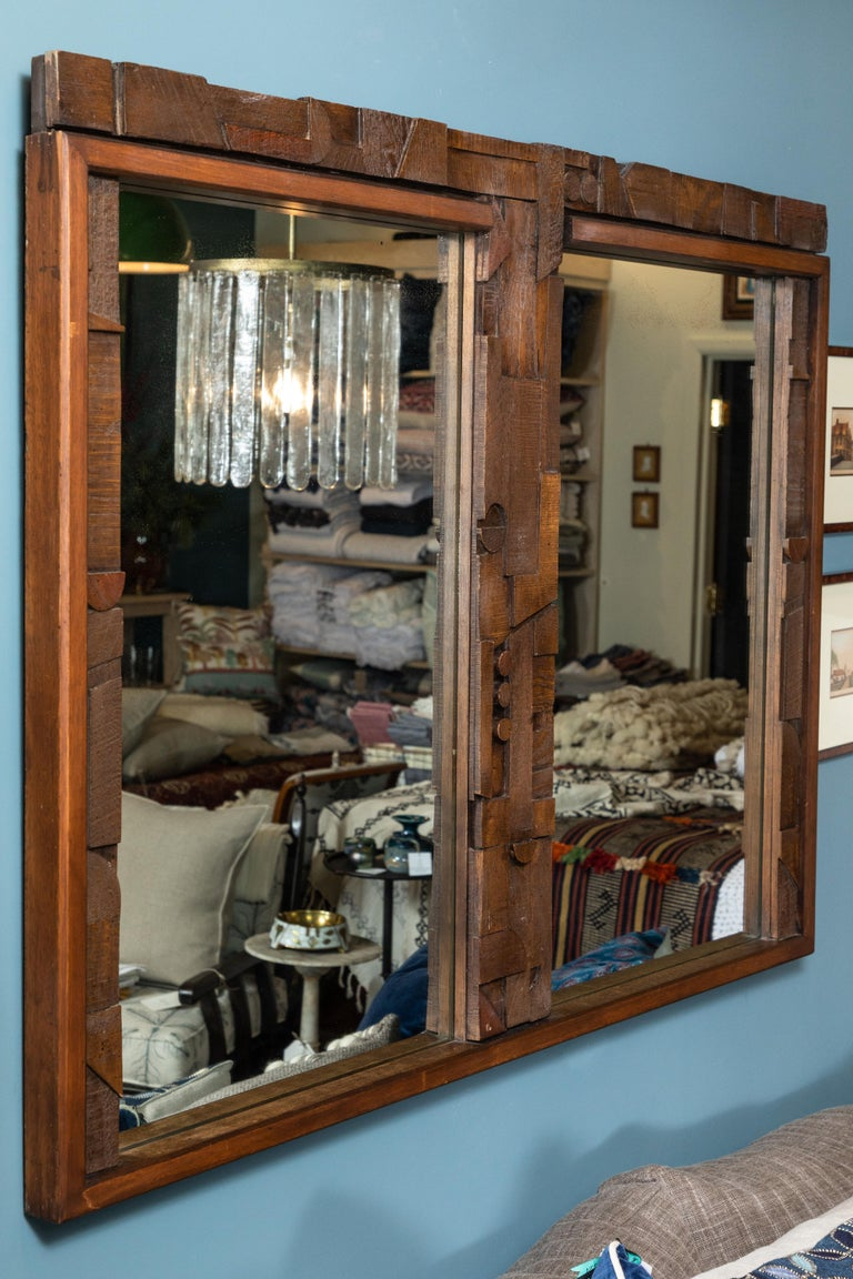 20th Century Brutalist Two-Panel Mirror in Oak Frame from Lane For Sale 1