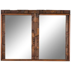 20th Century Brutalist Two-Panel Mirror in Oak Frame from Lane