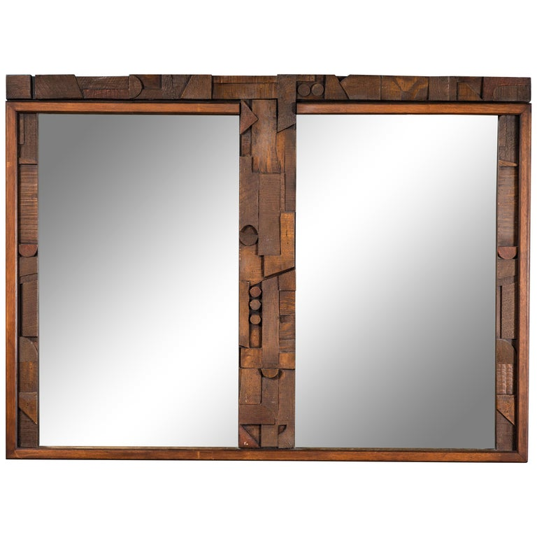 20th Century Brutalist Two-Panel Mirror in Oak Frame from Lane For Sale