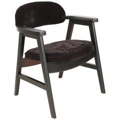20th Century Buffalo Black Wood and Velvet Armchair, 1960s