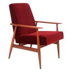 20th Century Burgundy Dark Red Dante Armchair, H. Lis, 1960s
