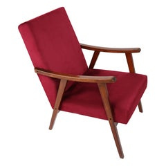 20th Century Burgundy Vintage Armchair, 1960s