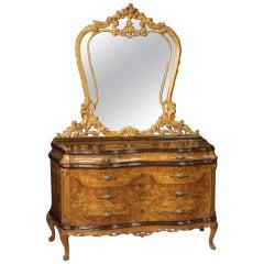20th Century Burl Walnut Beech Ebonized Wood Italian Dresser with Mirror, 1950