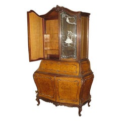 20th Century Burl Walnut Bombe Secretary Bookcase with Etched Glass Doors