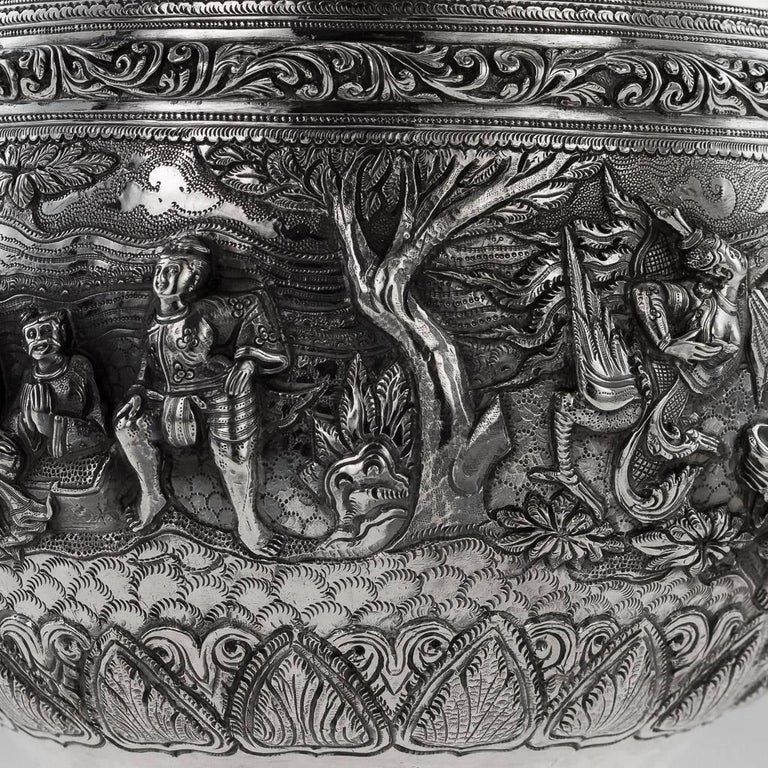 20th Century Burmese Solid Silver Thabeik Bowl, Rangoon, Tiger Mark, circa 1900 2