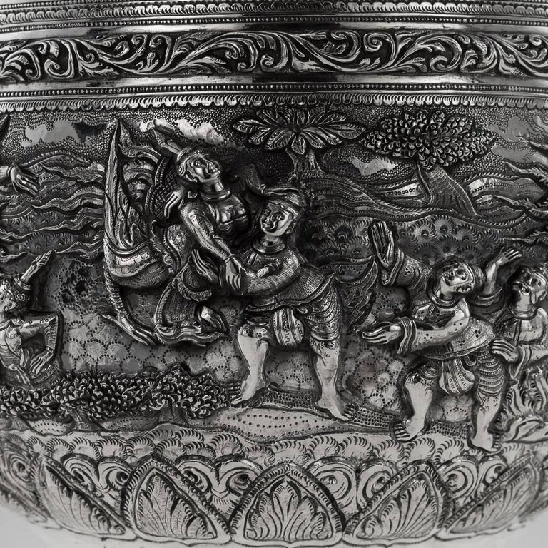 20th Century Burmese Solid Silver Thabeik Bowl, Rangoon, Tiger Mark, circa 1900 3