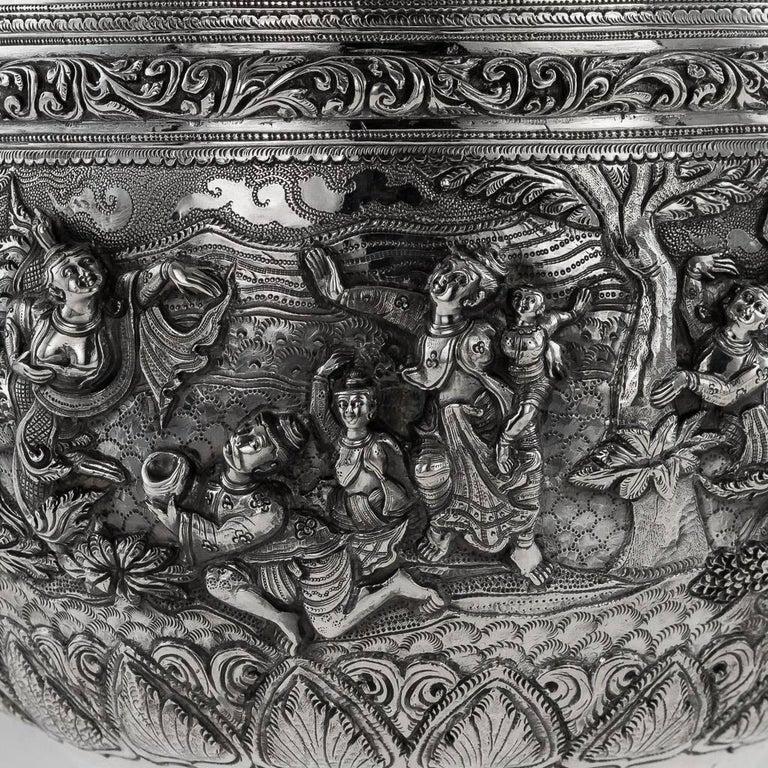 20th Century Burmese Solid Silver Thabeik Bowl, Rangoon, Tiger Mark, circa 1900 4